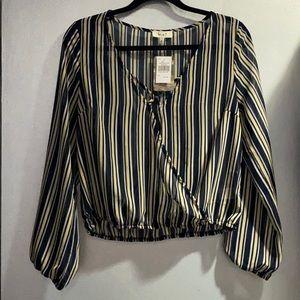Semi sheer crop pinstriped blouse